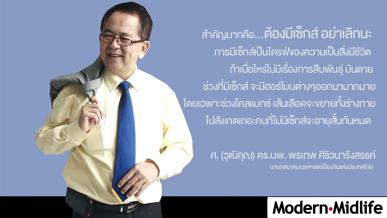 ศ. (วุฒิคุณ) ดร.นพ. พรเทพ ศิริวนารังสรรค์ นายกสมาคมเวชศาสตร์ป้องกันแห่งประเทศไทย
